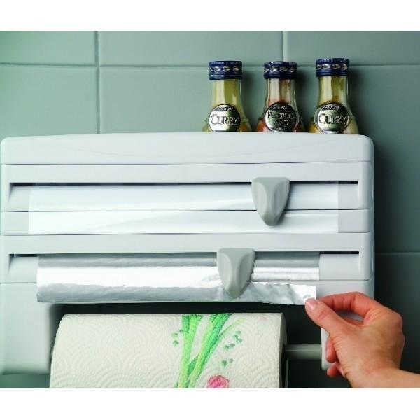 Portarrollos de cocina para papel aluminio y film corte a cuchilla - Portarrollos cocina pared ...